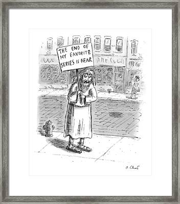 A Man In Torn Clothing On The Sidewalk Holds Framed Print
