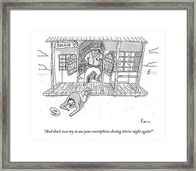 A Man Is Crawling Out Of A Saloon Framed Print by Zachary Kanin
