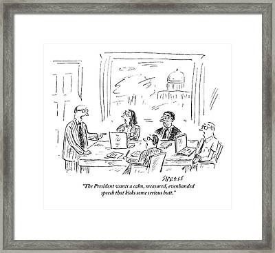 A Man Is Leading A Meeting Of Four People Framed Print