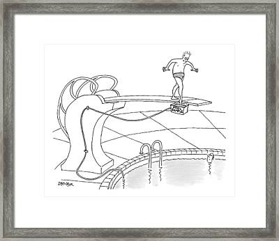 A Man Is On A Diving Board Above A Pool. He Dips Framed Print