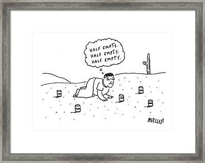 A Man Is Seen Crawling Through The Desert Framed Print by Peter Mueller