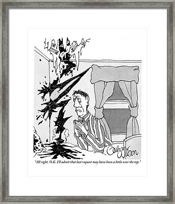 A Man Is Seen Praying At His Bedside With A Bolt Framed Print by Gahan Wilson