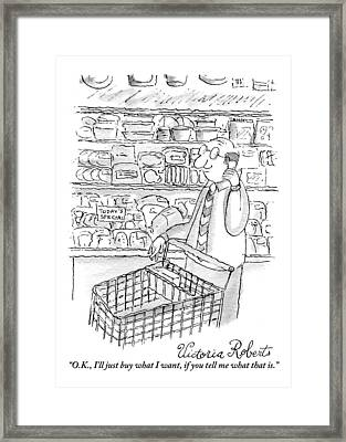 A Man Is Seen Pushing A Shopping Cart And Talking Framed Print