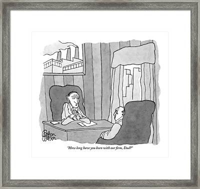 A Man Is Seen Speaking With An Elderly Man In An Framed Print