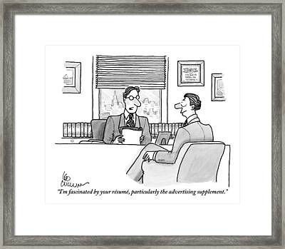 A Man Is Seen Speaking With Another Man Framed Print by Leo Cullum