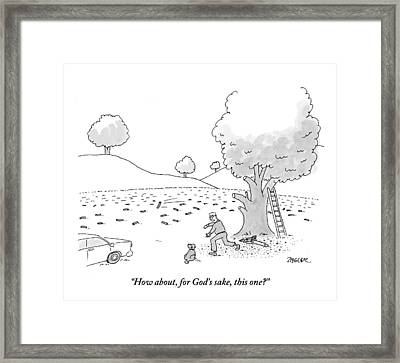 A Man Is Seen Throwing Sticks For His Dog Framed Print