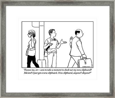 A Man Is Seen With A Clipboard Talking To People Framed Print