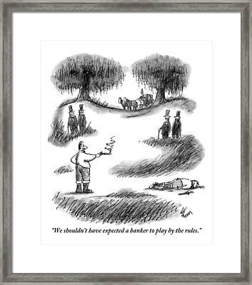 A Man Is Seen With A Smoking Gun Standing Framed Print