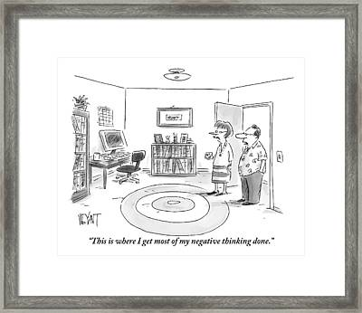A Man Is Showing His Guest A Room In His Home Framed Print by Christopher Weyant