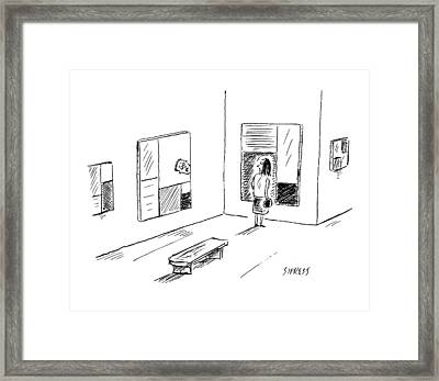 A Man Is Trapped In A Mondrian Painting Which Framed Print by David Sipress