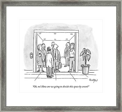 A Man Is Trying To Get In An Elevator With Six Framed Print