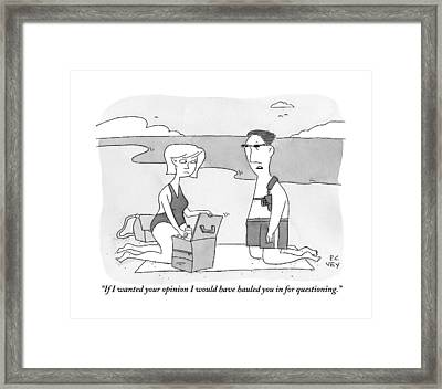 A Man Kneeling On A Blanket With His Wife Framed Print by Peter C. Vey