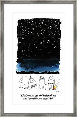 A Man Looks Up At The Night Sky Framed Print