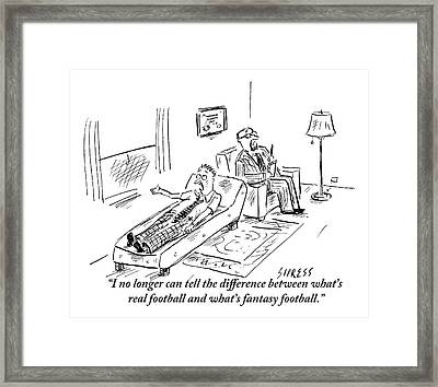 A Man Lying On A Couch Complains Framed Print