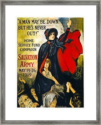 A Man May Be Down . . .   1919 Framed Print by Daniel Hagerman
