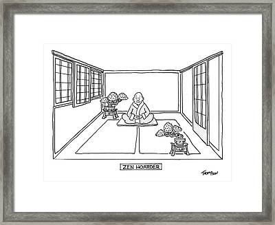 A Man Meditates In The Middle Of A Sparse Room Framed Print by Mark Thompson