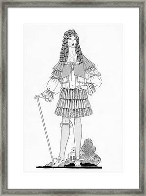 A Man Modeling Clothing From The Court Of King Framed Print by Claire Avery