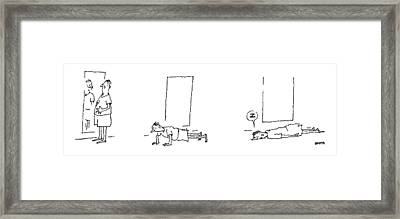 A Man Notices He Is Overweight In A Mirror Framed Print