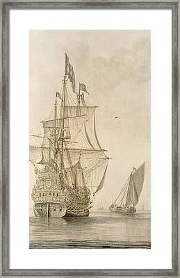 A Man-o-war Under Sail Seen From The Stern With A Boeiler Nearby Framed Print by Cornelius Bouwmeester