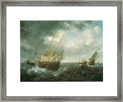 A Man-of-war Lowering Sails As A Storm Approaches Framed Print by Jan Peeters