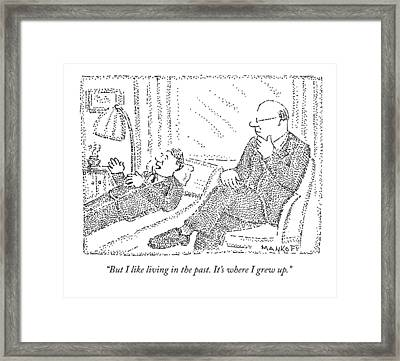 A Man On A Psychoanalyst Couch Says Framed Print