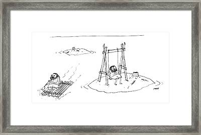 A Man On A Raft Paddles Away From A Desert Island Framed Print by Edward Steed