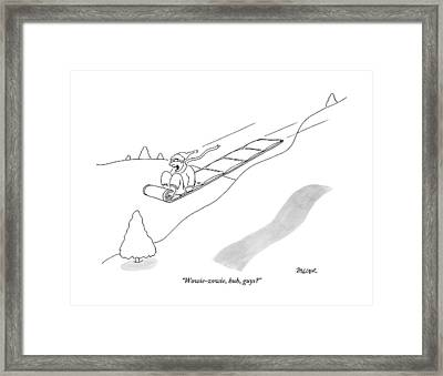 A Man On A Sled Framed Print