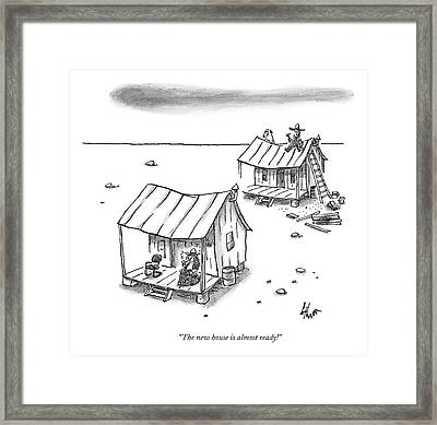 A Man On Top Of A Shack With A Ladder Framed Print by Frank Cotham