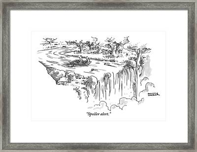 A Man Paddles Backwards In A Small Boat Framed Print by Shannon Wheeler