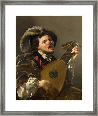 A Man Playing A Lute Framed Print by Hendrick ter Brugghen
