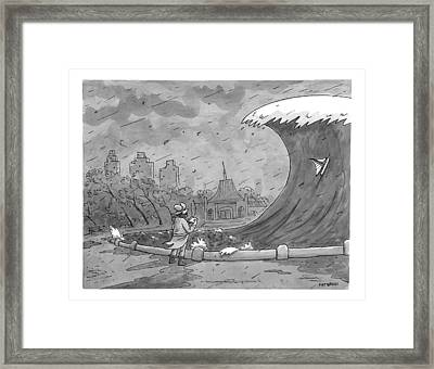 A Man Playing With A Remote-controlled Boat Framed Print