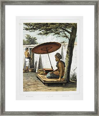 A Man Possibly Dealing In Currency Framed Print by British Library