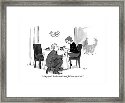 A Man Proposes To A Woman In A Restaurant Framed Print by Carolita Johnson