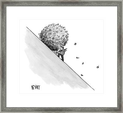A Man Rakes Leaves Uphill Framed Print by Christopher Weyant