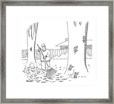 A Man Rakes Leaves While Four Leaves Scurry Framed Print