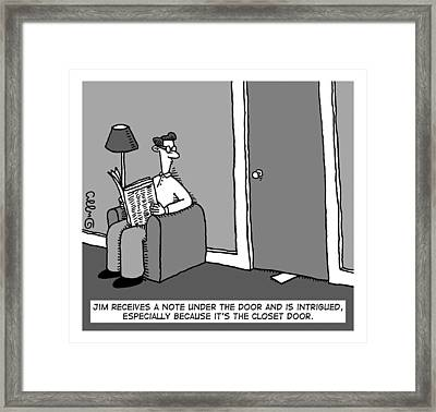 A Man Receives A Note From Under The Closet Door Framed Print by J.C.  Duffy