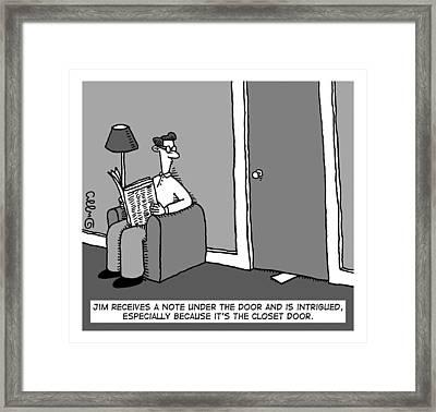 A Man Receives A Note From Under The Closet Door Framed Print