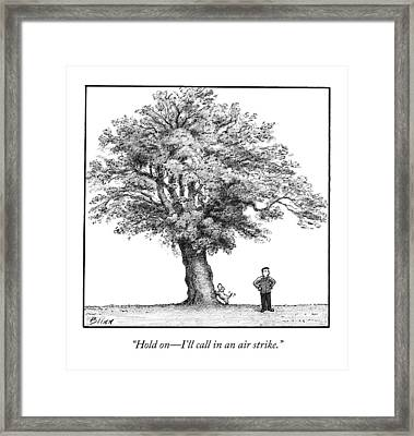 A Man Says To His Dog Framed Print by Harry Bliss