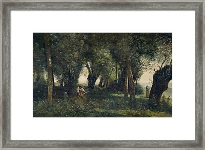A Man Scything By A Willow Grove, Artois, C.1855-60 Oil On Canvas Framed Print by Jean Baptiste Camille Corot