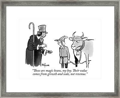 A Man Sells A Boy Leading A Cow  Beans -- Jack Framed Print