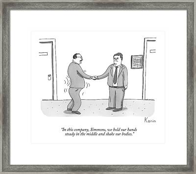 A Man Shakes His Body While Shaking Hands Framed Print by Zachary Kanin