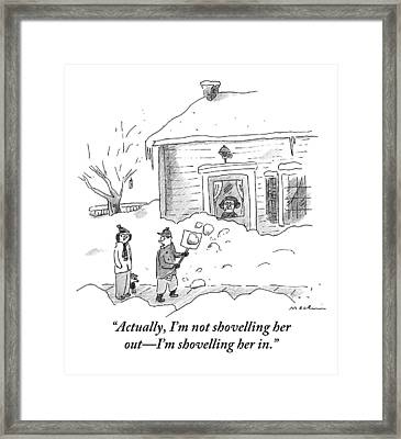 A Man Shoveling Snow Addresses A Person Framed Print