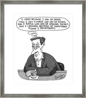 A Man Sits At A Bar With A Drink In Front Framed Print by J.C.  Duffy