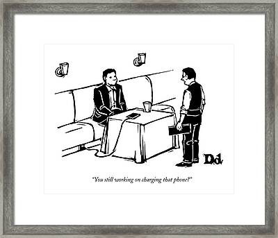 A Man Sits At A Restaurant Table Framed Print by Drew Dernavich