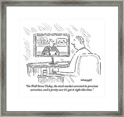 A Man Sits In A Chair With A Drink Watching Framed Print