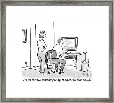 A Man Sits In Front Of His Computer. His Wife Or Framed Print by Robert Leighton