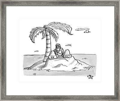 A Man Sits On A Deserted Island With Two Boxes: Framed Print