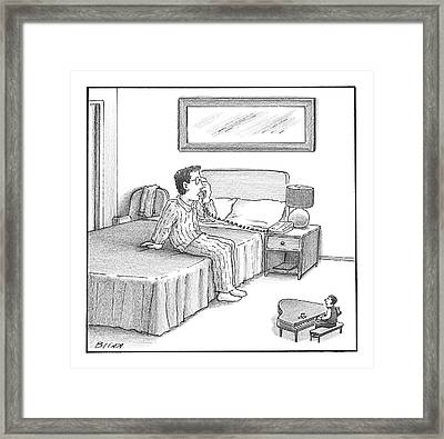 A Man Sits On A Hotel Bed And Speaks Framed Print by Harry Bliss