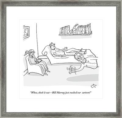 A Man Sits On A Therapists Couch Framed Print by Farley Katz