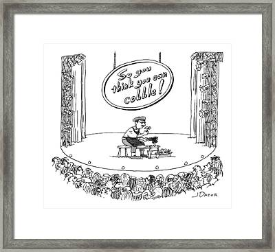 A Man Sits On Stage Repairing Shoes In Front Framed Print by Joe Dator